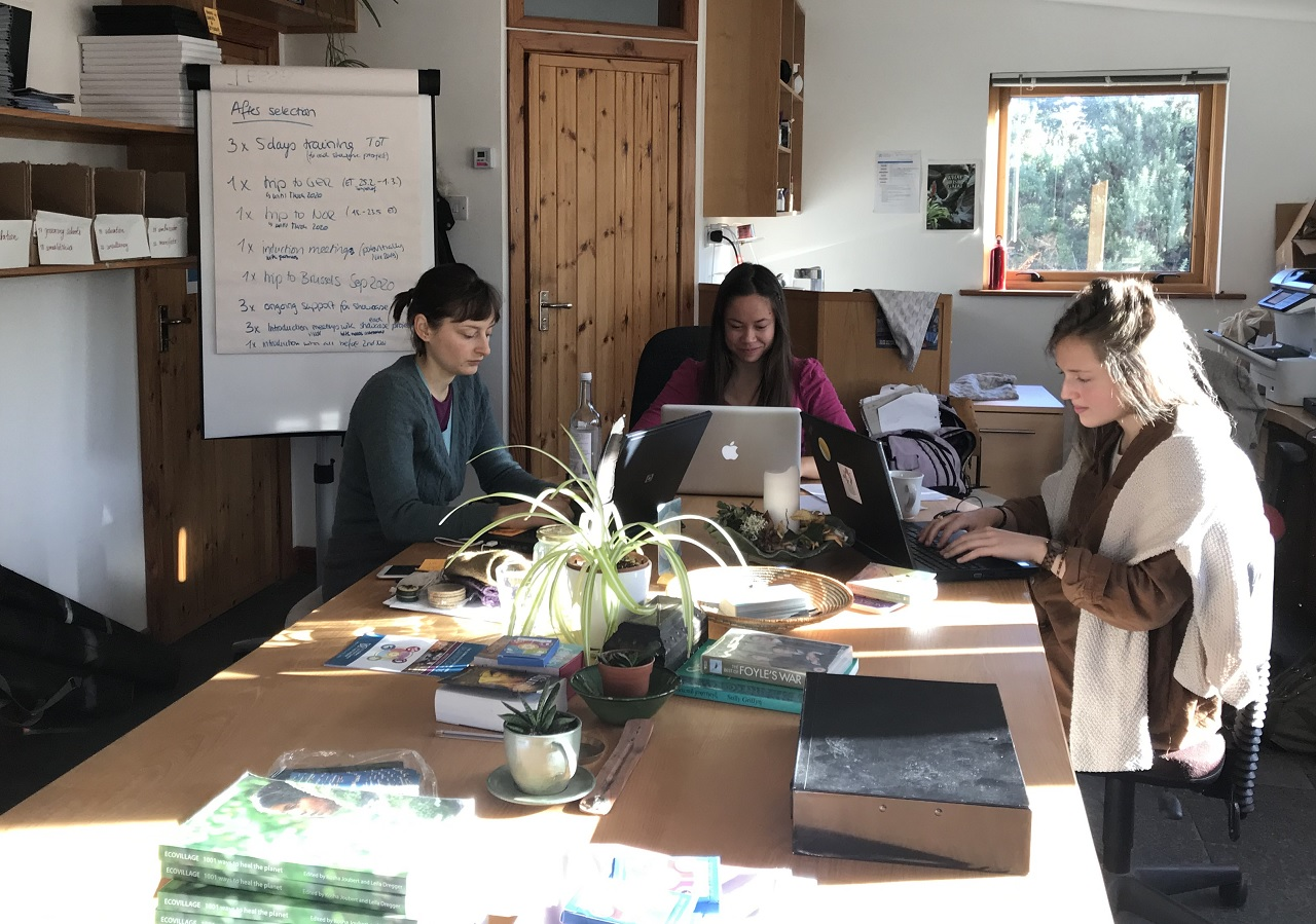 European Solidarity Corps volunteers in the Global Ecovillage Network office