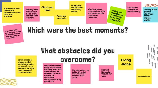 Jamboard completed by participants about best moments and obstacles